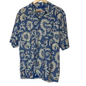 OP Ocean Pacific Hawaiian shirt muted blue EUC L